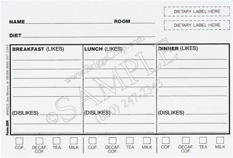 dietary tray card template plastic diet tray card