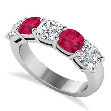 Ruby 3 05ct cushion ruby five ring 14k white gold 4