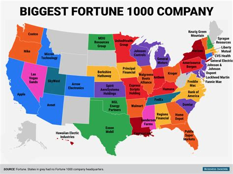 states in america biggest fortune 1000 company in every state business insider