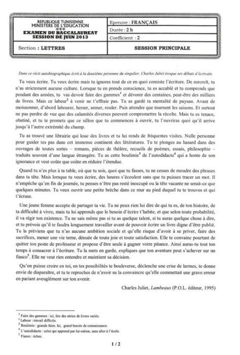 Presentation D Une Lettre Bac Francais Tunisie Bac 2013 Tous Les Sujets Des Examens Du