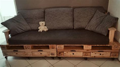 Pallet sofa plan with drawers diy tutorial