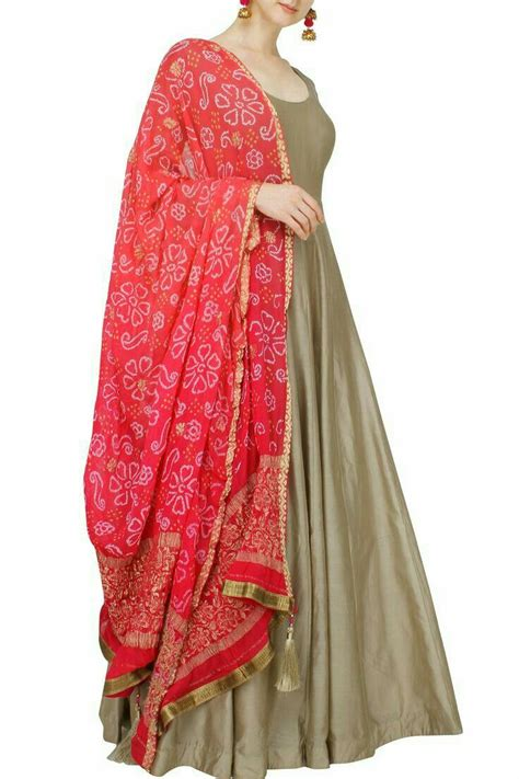 grey  red dupatta suit indian outfits indian attire