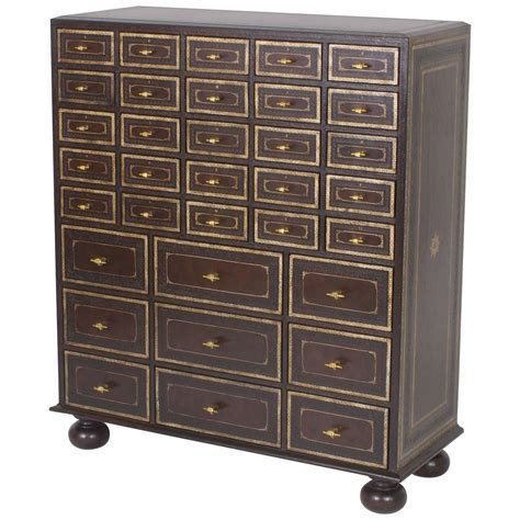 Dresser With Many Small Drawers And Mid Century Maitland Smith Chest Of Many