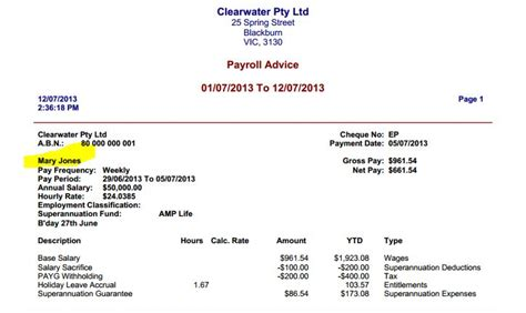 payroll pay slip employee s name in emailed pdf