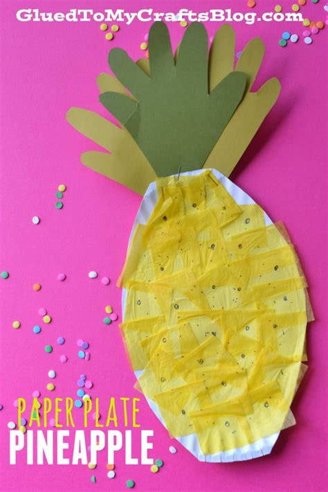 Pineapple Paper Craft - paper plate pineapple kid craft