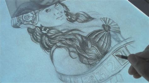 tattoo pen up close pin up girl tattoo design speed drawing time lapse