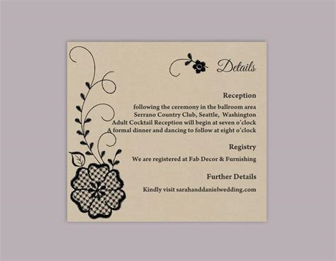 details cards of wedding template diy lace wedding details card template editable word file