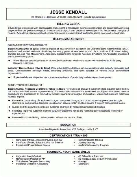 billing resume template billing resume sle jennywashere