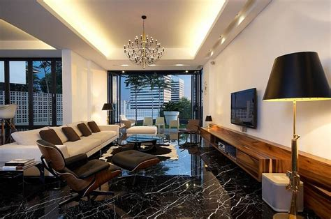 Living Room Ideas With Black Flooring Black Marble Floors Give This Room A Sleek Modern