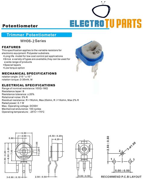 variable resistor connection datasheet 10k ω ohm potentiometer horizontal trimpot trimmer variable resistor wh06 2 103 ebay