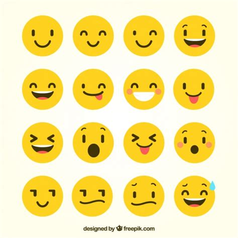 Flat Smile flat emoticons with gestures vector free