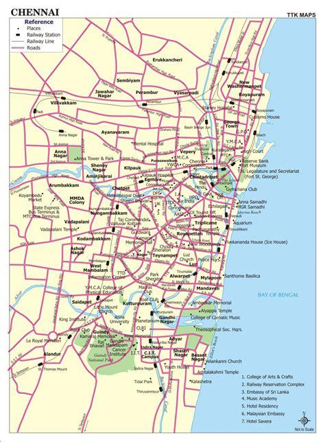 printable chennai road map chennai city map city map of chennai with important