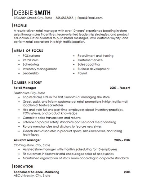 Resume Exles For Retail Stores Retail Store Manager Resume Exle Franchise Management
