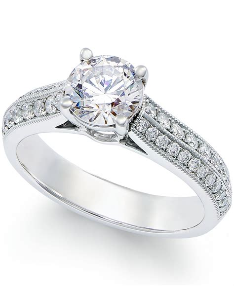 macy s certified engagement ring in platinum 1 3