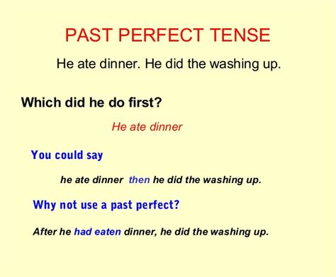 past perfect tense sentence pattern past perfect exles