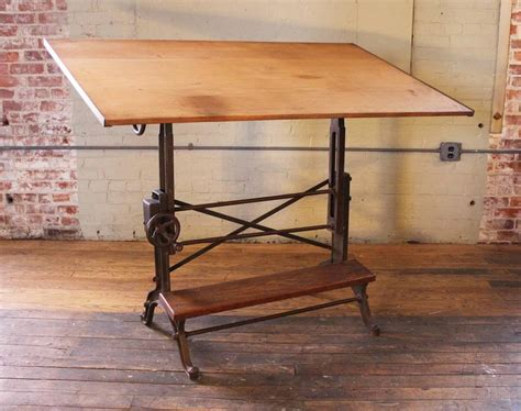 Vintage Industrial Cast Iron And Wood Frederick Post Frederick Post Drafting Table