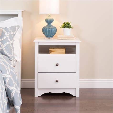 Nightstand With Drawer Prepac Monterey White 2 Drawer Stand Nightstand Ebay