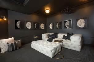 media room lighting ideas white tufted sofa contemporary media room