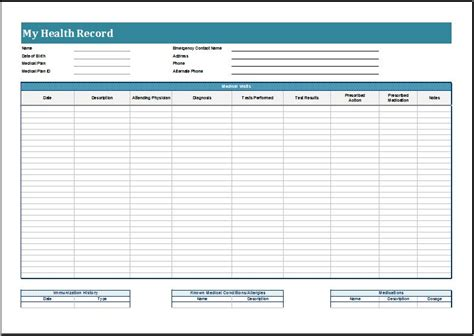 free personal health record template personal health record sheets printable forms