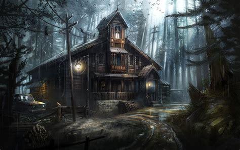 wallpaper dark house download 1920x1200 dark forest crows haunted house