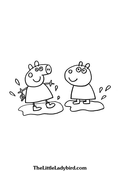 peppa pig muddy puddles coloring pages peppa pig coloring pages thelittleladybird com