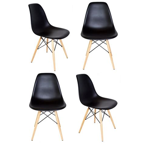 Dsw Dining Chair Set Of 4 Eames Style Dsw Molded Black Plastic Dining Shell Chair With Wood Eiffel Legs