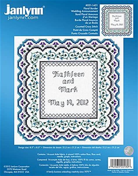 Wedding Announcement Cross Stitch Patterns by Janlynn Cross Stitch Kit Floral Border Wedding