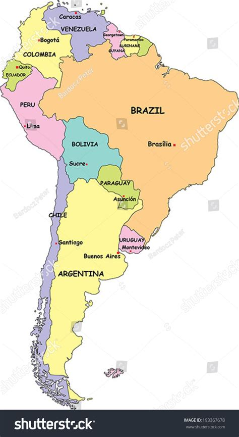 south america map with country names highly detailed south america political map stock vector