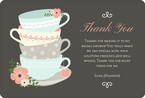 thank you card for throwing bridal shower teacup bridal thank you bridal shower thank you cards