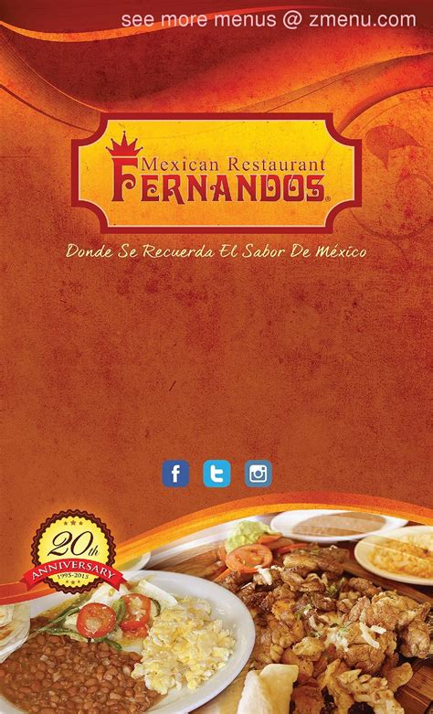 menu  fernandos restaurant restaurant pharr