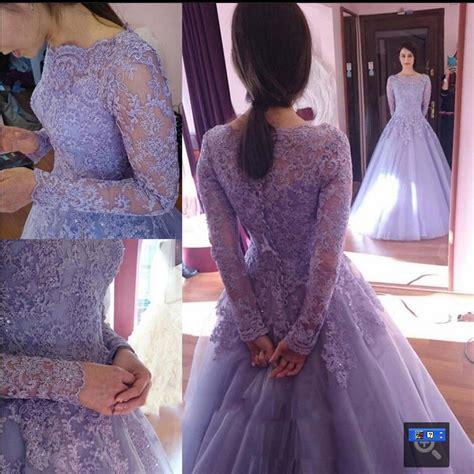 Kaftan Mila Purple lavender a line wedding dresses sleeve lace