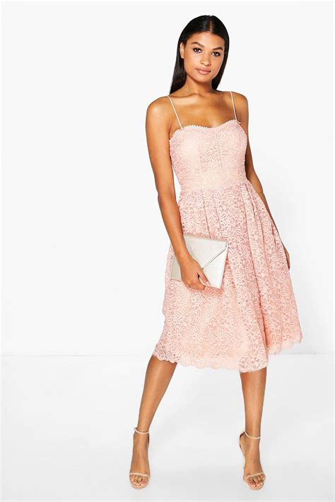 Fashions A30784 Midi Dress Pink boohoo boutique abie embroidered strappy midi skater dress in pink lyst