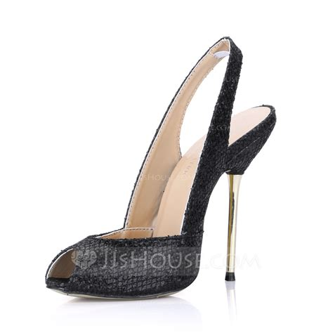 jjs house shoes sparkling glitter stiletto heel sandals peep toe slingbacks shoes 087022623 jjshouse