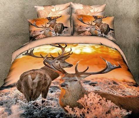 Colorful Mart Deer Orange Bedding Animal Print Bedding 3d Deer Bed Sets