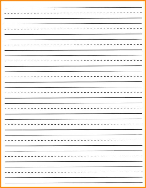 printable lined elementary paper free kindergarten lined paper template free download