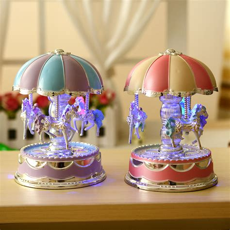 Gift For Home Decoration by Windup Merry Light Carousel Movement Box Kid
