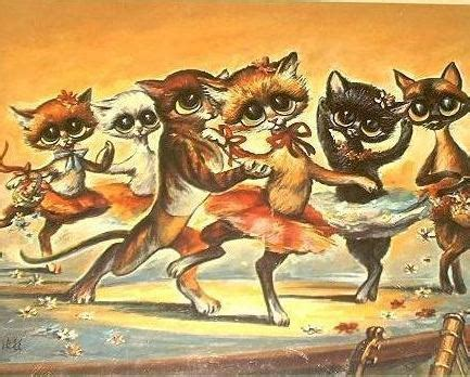 bona brothers hair show vintage 60 s big eyed cats print by miree ballet dancing