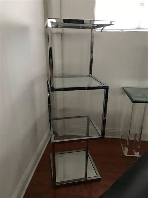 etagere 9 cases mid century chrome etagere or display for sale at 1stdibs