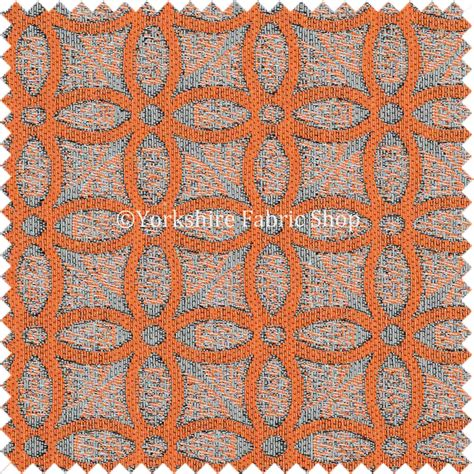 orange upholstery fabric orange medallion inspired geometric pattern soft chenille