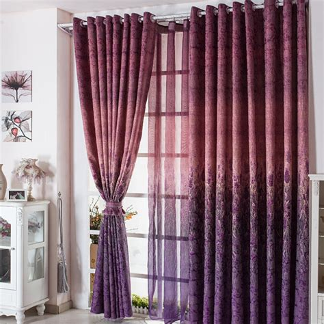 Beautiful Curtain by Beautiful Purple Lavander Polyester Floral Pattern Curtains
