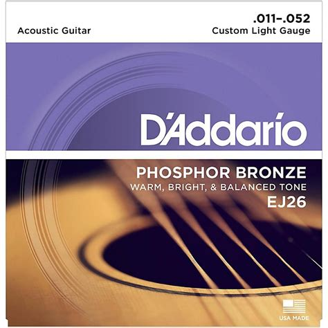 d addario ej26 phosphor bronze custom light acoustic
