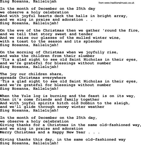 the byrds christmas songs sing hosanna hallelujah by the byrds lyrics with pdf