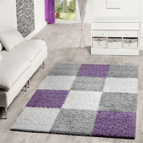 teppiche violett moderner hochflor teppich karo muster shaggy zottel