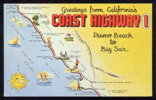 route 1 california road trip map coast highway 1 postcard pismo to big sur map www