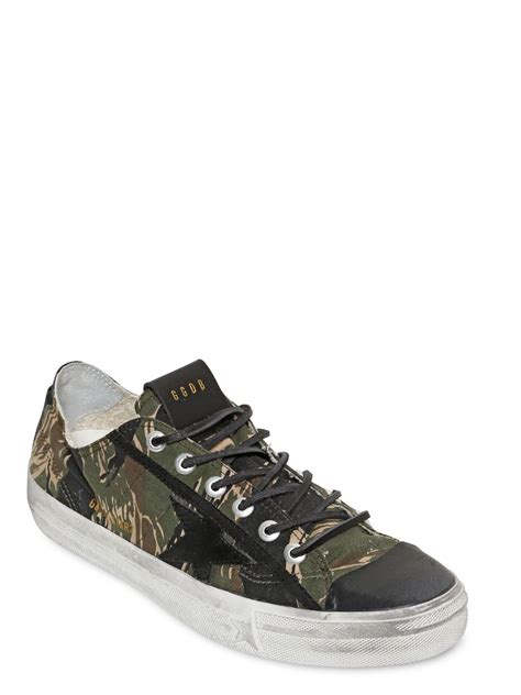 golden goose mens sneakers golden goose deluxe brand v camouflage cotton canvas