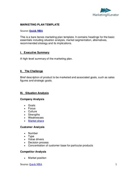 Basic Marketing Plan Template By Quickmba Com Marketing Plan Outline Template