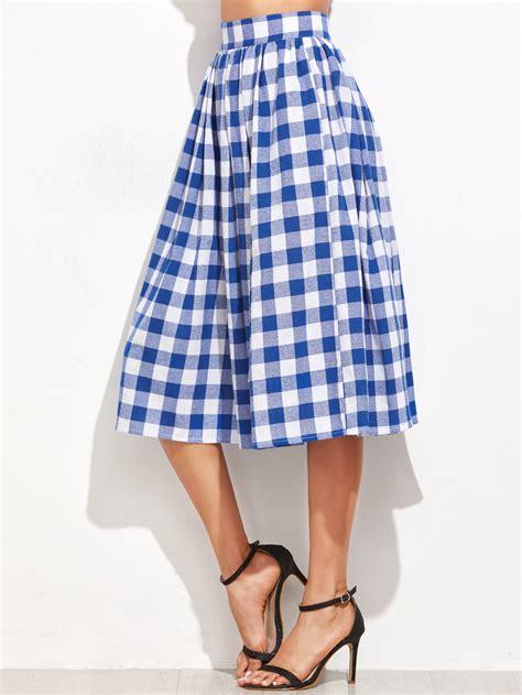 blue gingham pleated midi skirt makemechic
