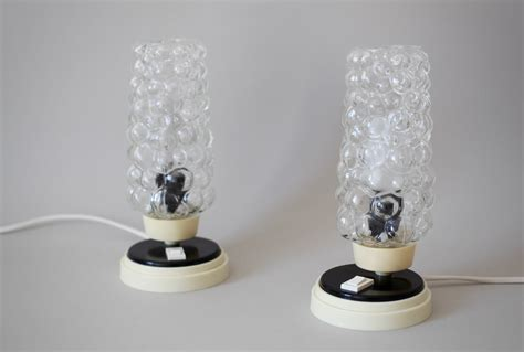 glass bedside l shades mid century bedside ls with bubble glass shades set of