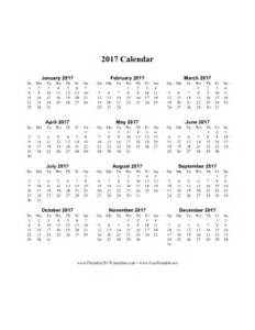 One Page Calendar 2017 Printable 2017 Calendar On One Page Vertical