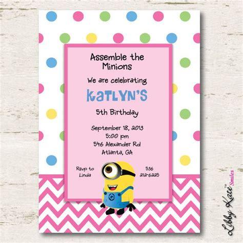 printable minion invitation template minion birthday invitation girl printables